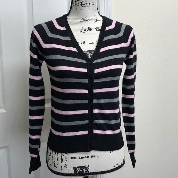 Ambiance Tops - ❤️Adorable black, pink & grey striped cardigan❤️